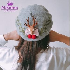 Japanese Style Mori Girl Lolita Kawaii Sweet Bow Antlers Wool Beret For Women Winter Hat Warm Beret Hats Boina Feminina(China)