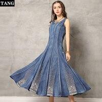 TANG 2019 Новое поступление весенне осеннее женское платье винтажное джинсовое платье с круглым вырезом вышивка тонкие платья с высокой талией