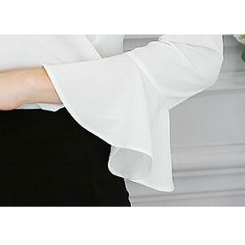 Dioufond V-Neck Soild Chiffon Female Blouses Nine Quarter Flare Sleeve Shirts Women Blouse White Slim Casual Ladies Top Fashion
