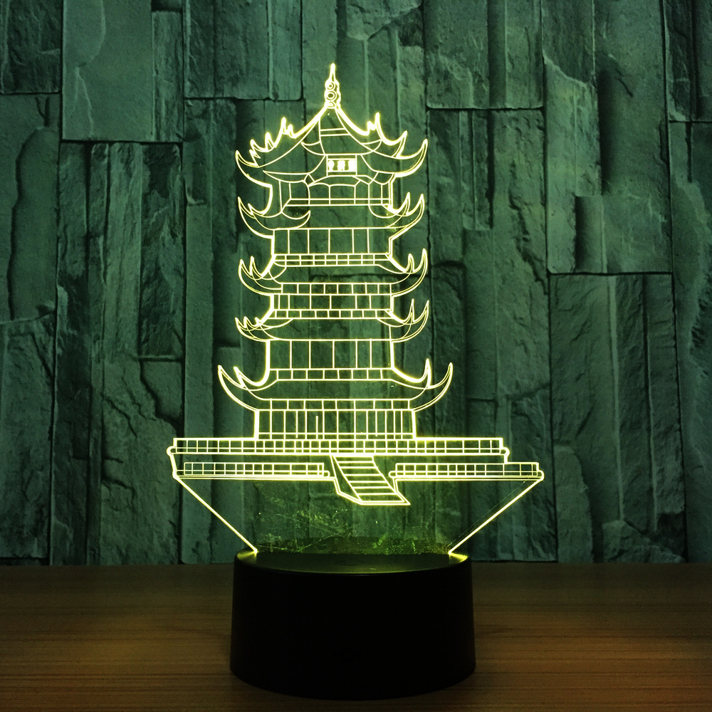 Chinese Leifeng Pagoda Shape 3D Night Light Tower Lamp Led 7 Colors Changing Touch Switch Decoration Table Lamp Toys Decor Gift