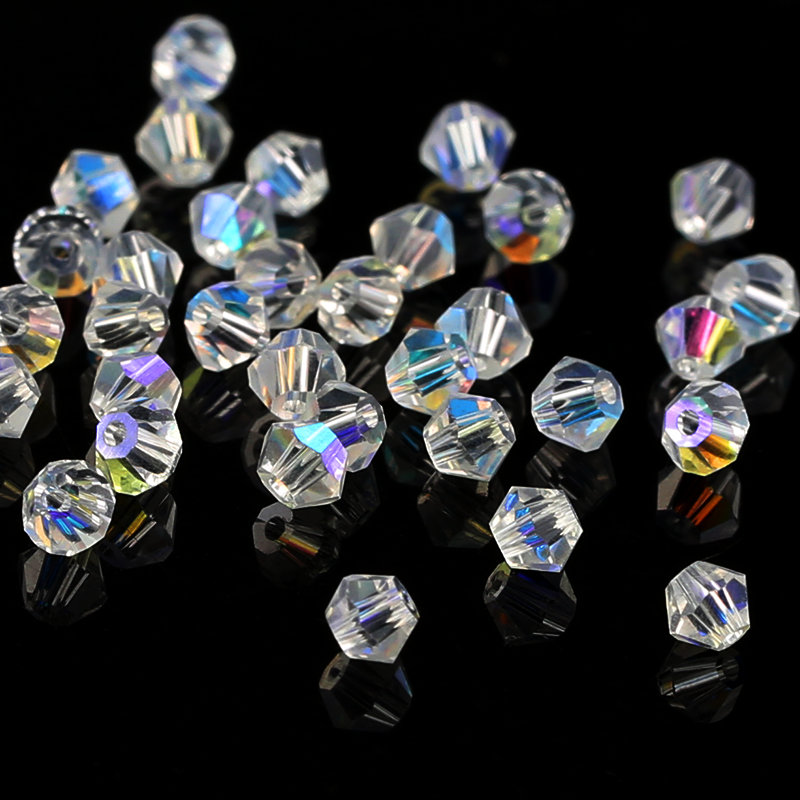 200 шт./лот, ювелирные изделия бисер стекло бусины Ясно AB/кристалл AB 4 мм Кристалл Bicone бисер для одежды цепочки и ожерелья Браслет интимные аксессуары
