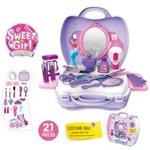 새로운 21 개/대 어린이 아름다움 아이 메이크업 화장품 가방 캐리 케이스 플레이 장난감 헤어 드라이어 선물 세트 어린이 소녀 완구