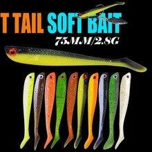 Фотография T T Shad 75mm 2.8g Plastic Fishing Bait T Shape Grub Shad Swimbait Artificial Swimbait Bass Fishing Lure Wobblers