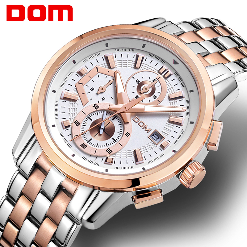 men watch DOM Casual sports watch Top Brand Luxury buisness wristwatch military Full Stainless Steel watch men relogio masculino недорго, оригинальная цена
