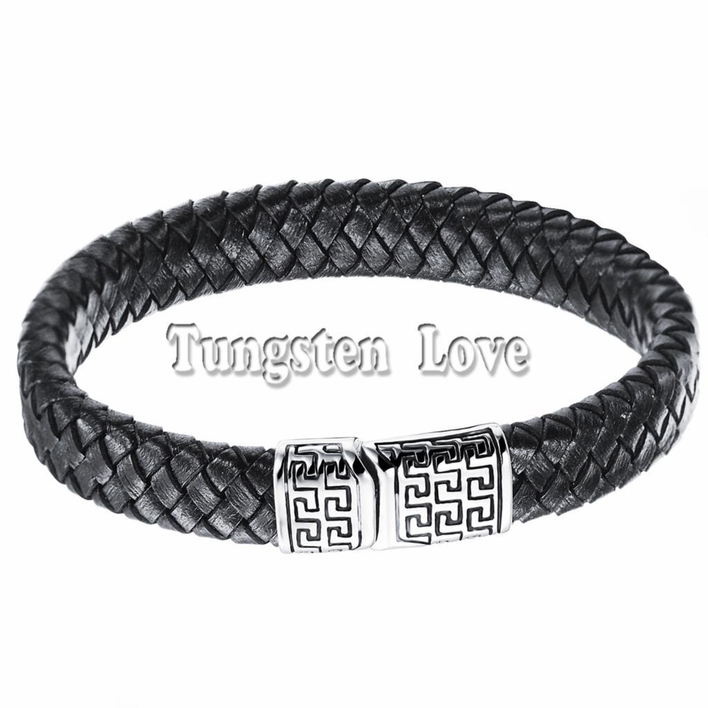 Vintage Men Great Wall Design Black Leather Bracelet Wholesale Cuff Braided  Charm Bracelet 85 Inch Pulseira
