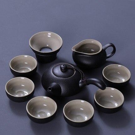 Black Pottery Kungfu Tea Set Teapot GaiWan Stoneware Japanese Home Office Tea Set Black Zen Wind Cover Bowl Teapot Teacup in Teaware Sets from Home Garden