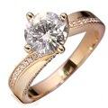 Queen Brilliance 2 Карат кт F Цвет Свадьба Обручальное Лаборатории Grown Moissanite Кольцо С Бриллиантом Для Женщин Твердые 14 К 585 Желтый золото
