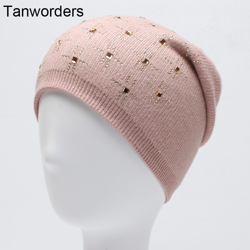 Women's Wool Knitted Beanies Hats Fashion Diamond Autumn Winter Hat Female Thick Warm Mask Ski Cap For Women Gorras 2017 new fashion autumn and winter wool leaves hollow out knitting hat thick female cap hats for girls women s hats female cap