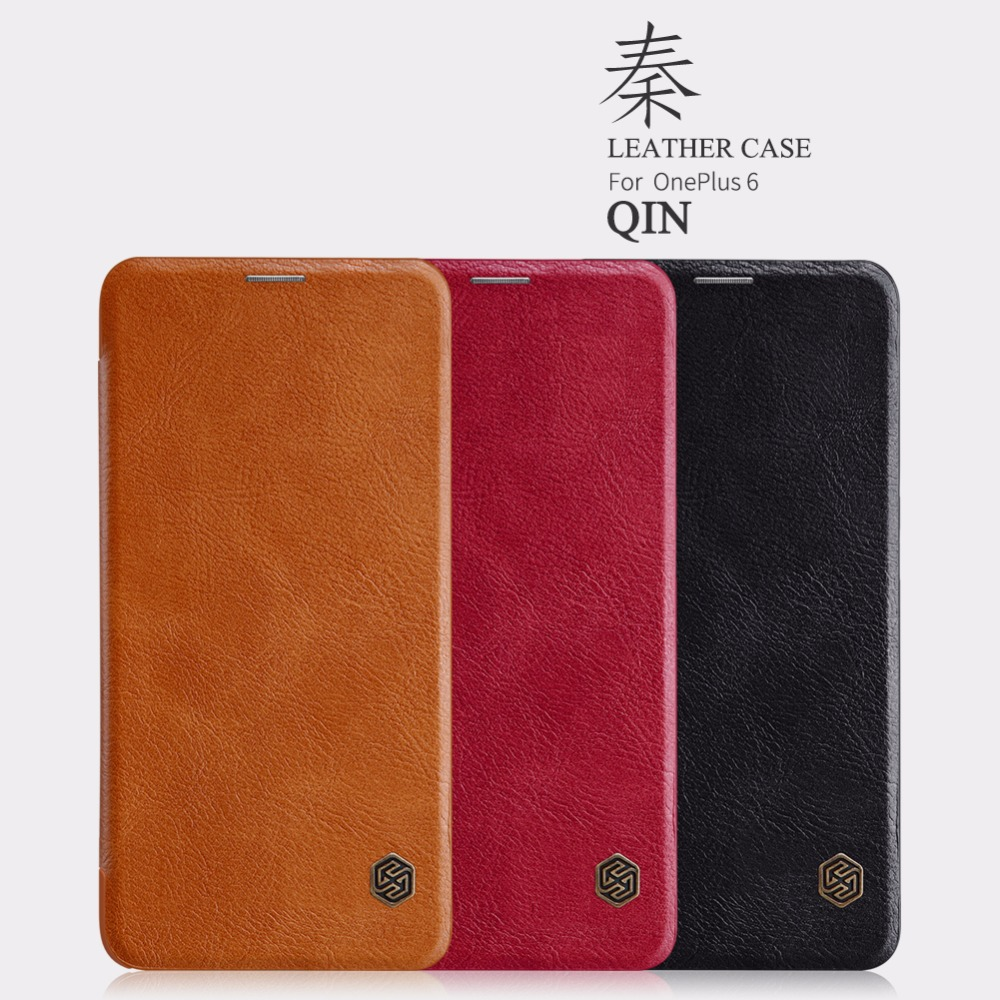 Oneplus 6 Cover 1+6 Cover For Oneplus One plus 6 Original Nillkin QIN Series Flip Leather wallet Case Cover with sleep function