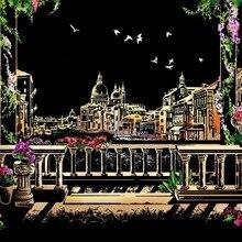 Venecia la ciudad del agua de lujo de color scratch night view capa de aluminio de recubrimiento de mapa de ciudades del mundo vintage poster Adhesivo de pared DIY