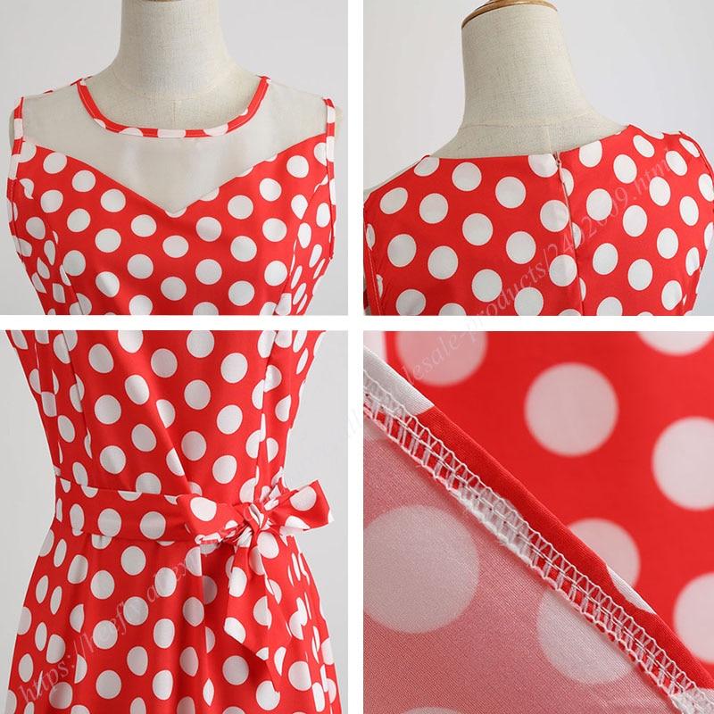 Retro letné párty šaty 1950 s bodkami Swing style (8 variánt) 17