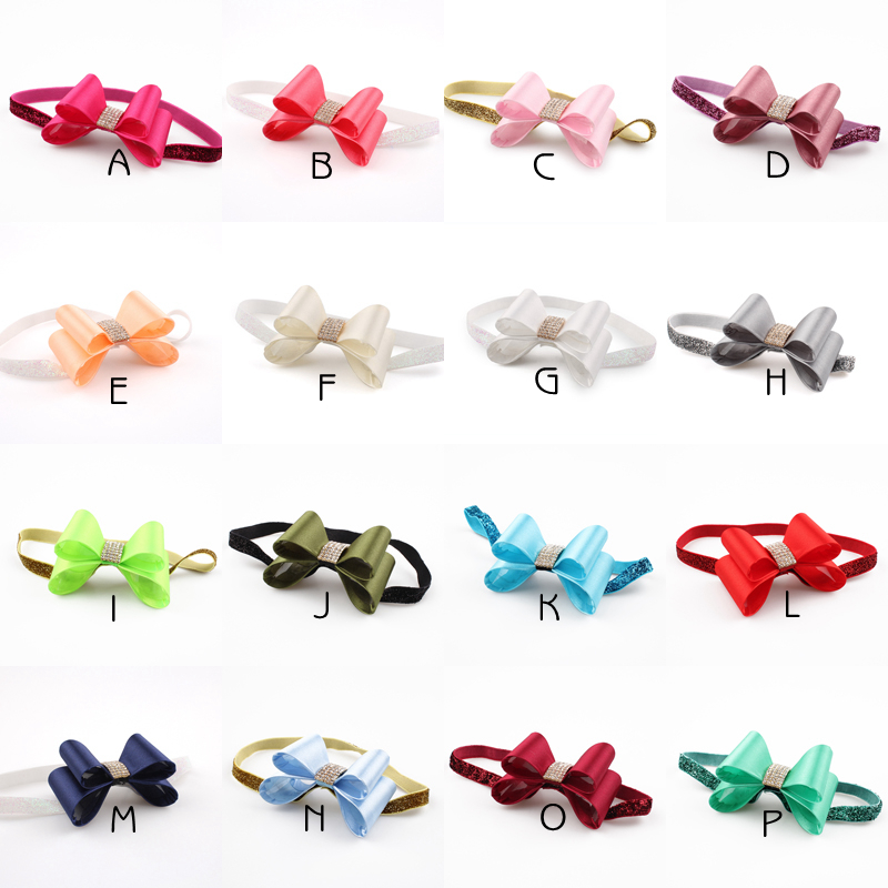 16colors Newborn Luxe Hair Flower Bows Matching Glitter Headband Handmade Hard Bow Headbands For Kids Girls Hair Accessories