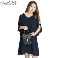 YELIANHU Summer Women Plus Size Dresses Loose V Neck Short Sleeves Dress Chiffon Fake Two Pieces