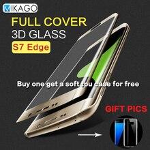 Cobertura total 5.5for samsung galaxy s7 edge caso protector de pantalla de cristal templado de cine para samsung galaxy s7 edge teléfono