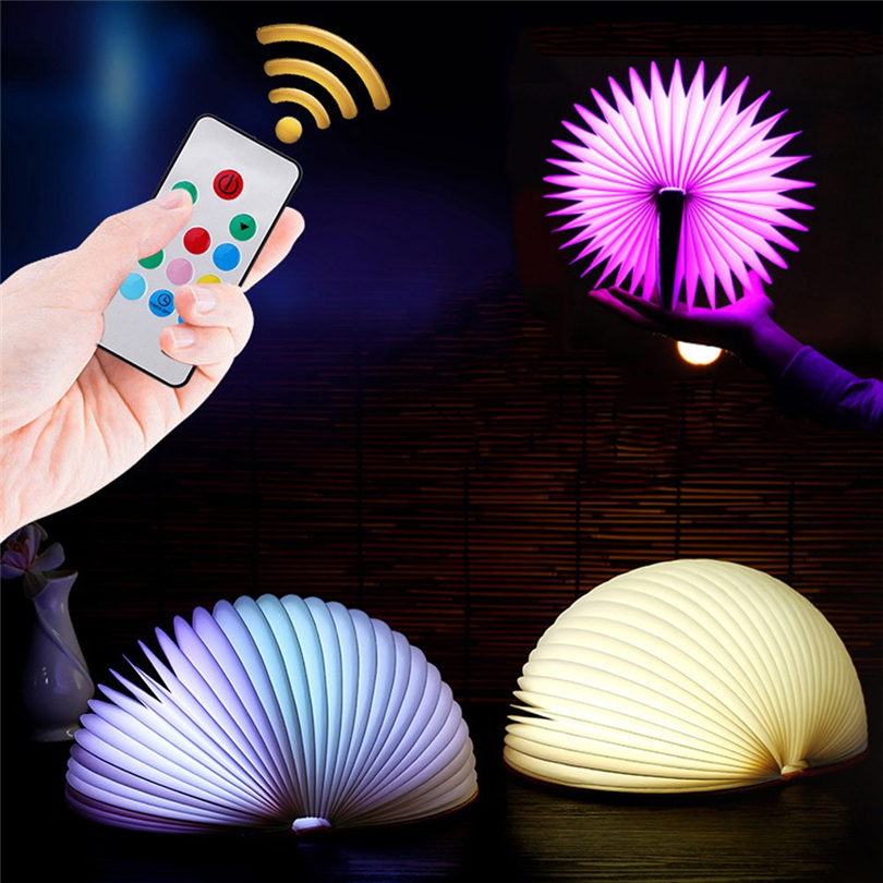 BZOOSIO USB Rechargeable LED 7 Colors Creative Colorful Book Light Lamp Remote Control Night Light USB Desk Table Decorative J20