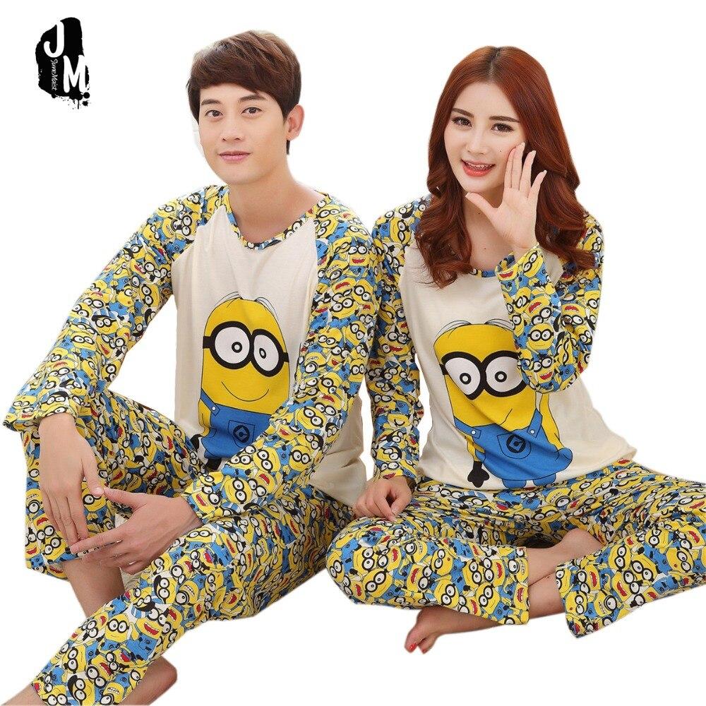 2016 Nueva moda Primavera otoño conjunto de pijamas de noche de manga larga amantes de dibujos animados homewear parejas juego adulto minion pijamas conjuntos