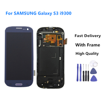 Replacement For Samsung Galaxy i9300 i9300i  LCD Display Touch Screen With Frame Assembly Blue Color+Tools