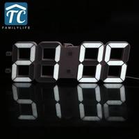 Creative Large Size 3D LED Desk Digital Electronic Wall Clock Living Room Time Display Automatic Light Sensor Clock Desk