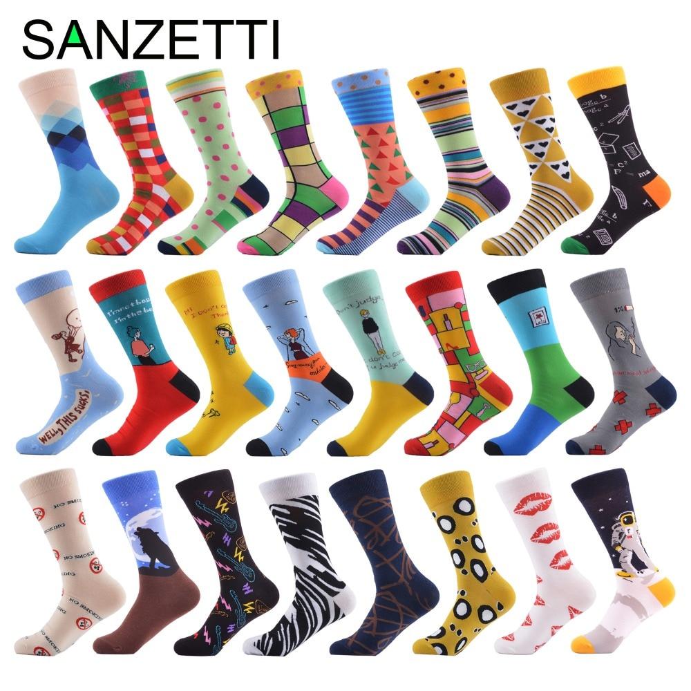 SANZETTI 1 pair/lot Men's Colorful Dot Funny   Socks   Combed Cotton Crew   Socks   Casual Long   Socks   Christmas Gift