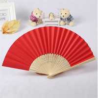 50Pcs Chinese Style Handmade Paper Fan Pocket Folding Bamboo Fans For Halloween Wedding Favors Gift Party Decoration Supplies
