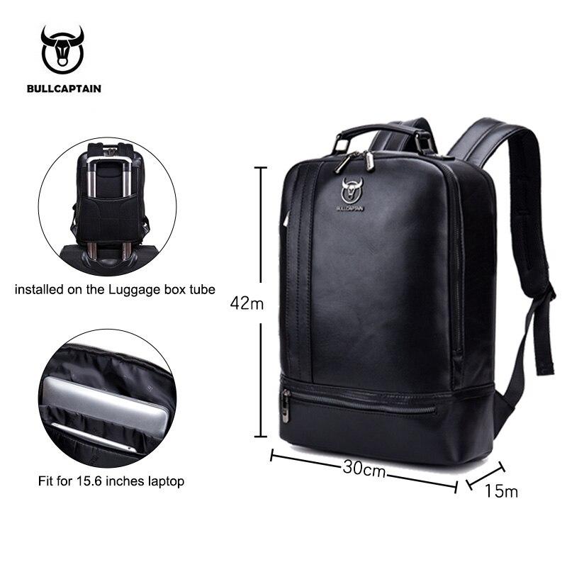 BULLCAPTAIN multifonction unisexe 15 pouces ordinateur portable en cuir de vache sac à dos mode minimaliste mâle Mochila 18L voyage sac à dos pour hommes - 2