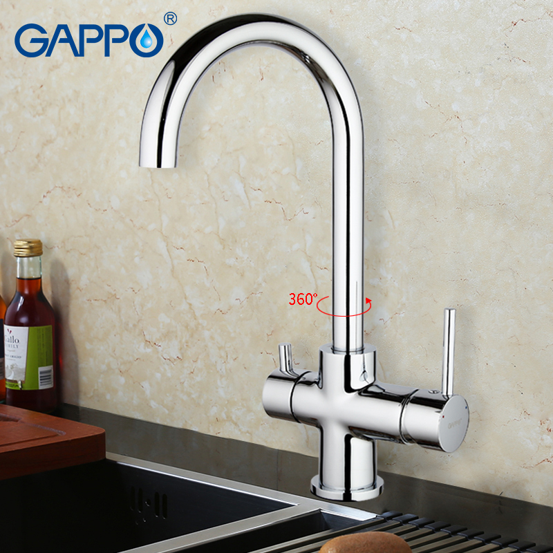GAPPO 1set Deck Mounted Kitchen sink Faucet Double Handle Water Purification Function 360 Rotation restroom mixer G1052-8 смеситель для мойки g1052 5 однорычажный хром gappo гаппо