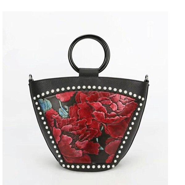 Embossing Flower Designer Female Shoulder Hobos Bag Genuine Cow Leather Women Imitation Pearl Purse Round Handle Ladies Handbag все цены