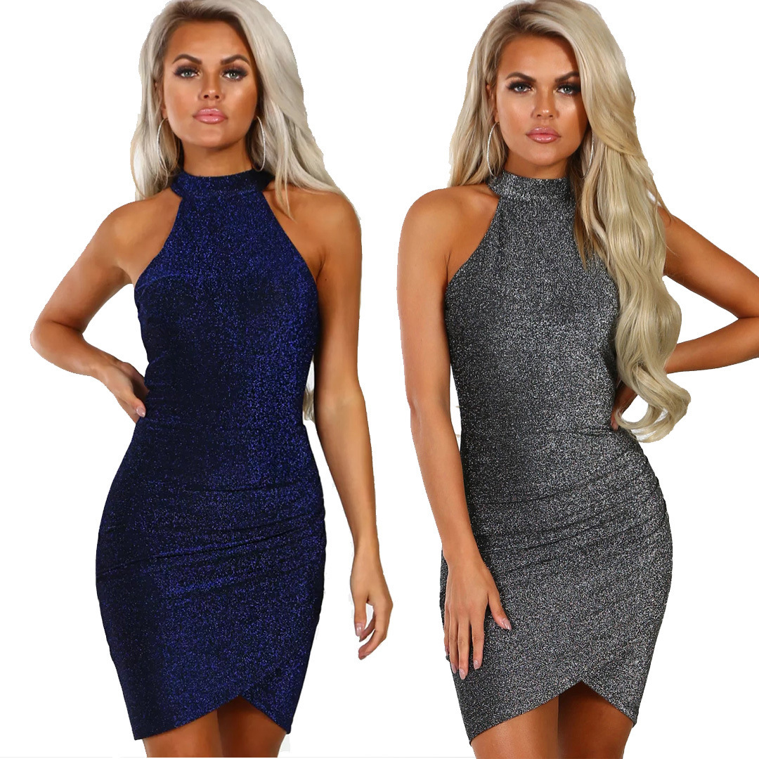 2019 Bright Silk Blue & Gray Short Shealth Dress Sleeveless High Neck Sexy Fold Buttocks Cocktail Dress Vestidos De Festa Curto