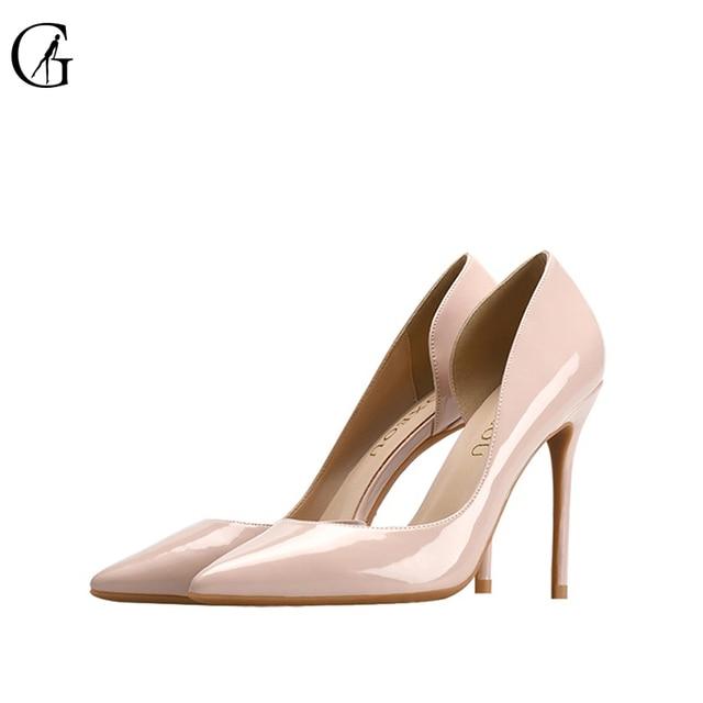 GOXEOU/2019 г. женская обувь пикантные туфли на высоком каблуке с острым носком без застежки для свадьбы, офиса, из лакированной кожи ручной работы, бесплатная доставка, большие size32-46
