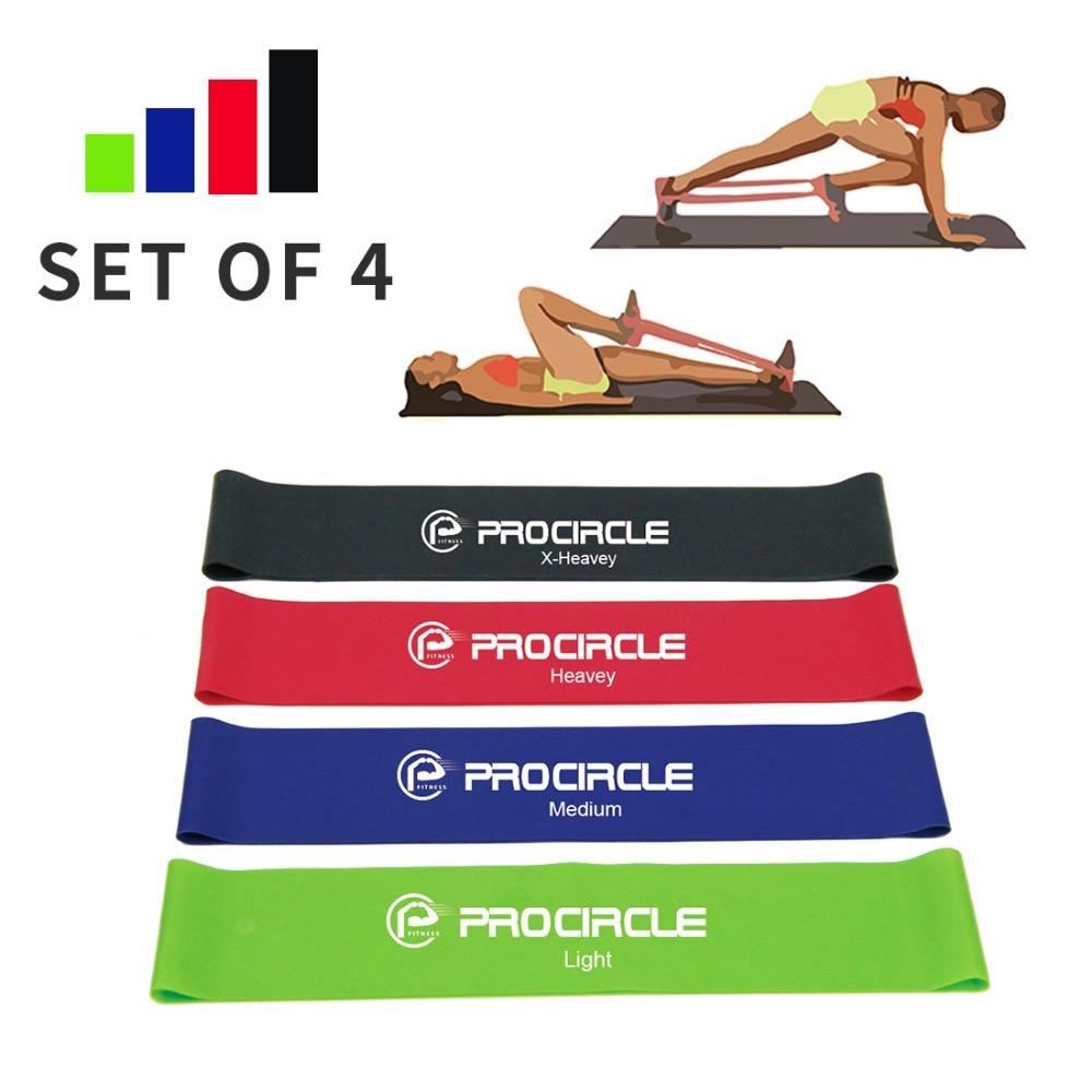 ✔  Набор полос сопротивления Procircle 4 упражнения geen красный синий черный 25см длина ①