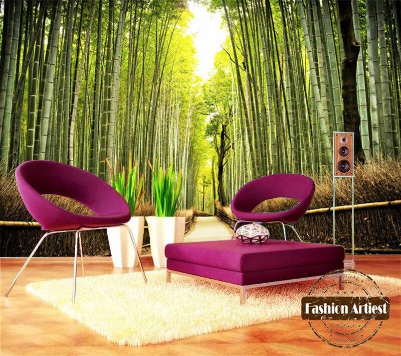 Custom modern 3d wallpaper mural peaceful bamboo grove bamboo forest tv sofa bedroom living room cafe bar restaurant background
