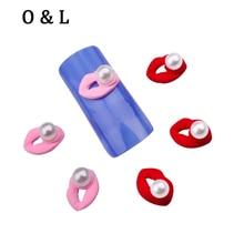 10pcs New Sexy Red Pink Lips 3d Pearls Nail Art Decorations DIY Charm Nail Beauty Tools