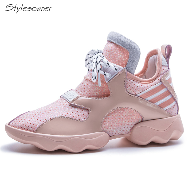 Stylesowner 2018 Women Fashion Casual Lace Up Sneakers Striped Mesh Breathable Casual Shoes Thick Sole Platform Shoes For Girls striped grommet lace up dropped shoulder top