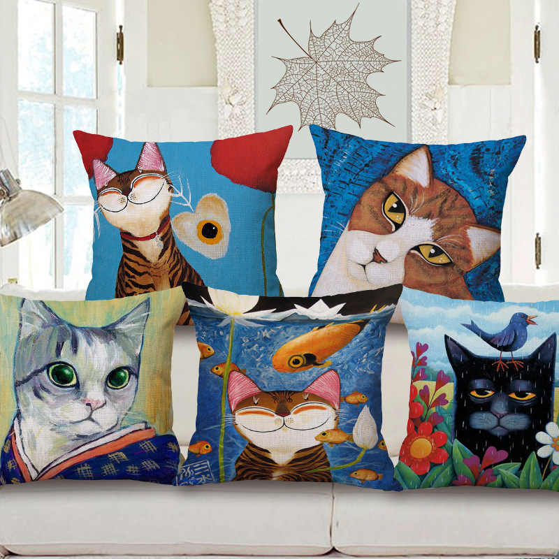 Vintage Cartoon Cat Cotton Linen Pillow Cover Sofa Waist Throw Cushion Cover Home Decorative Pillowcases 18*18 inches On Sale