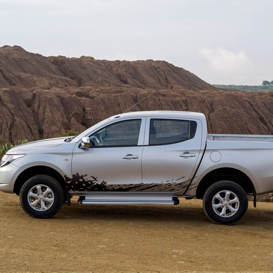 free shipping 2 PC body side mud splash styling graphic vinyl for mitsubishi l200 triton 2006