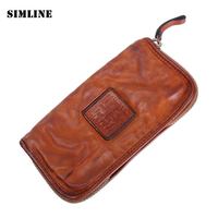 Luxury Brand Vintage Handmade 100 Genuine Leather Cowhide Mens Long Zipper Wallet Wallets Purse Clutch Bag