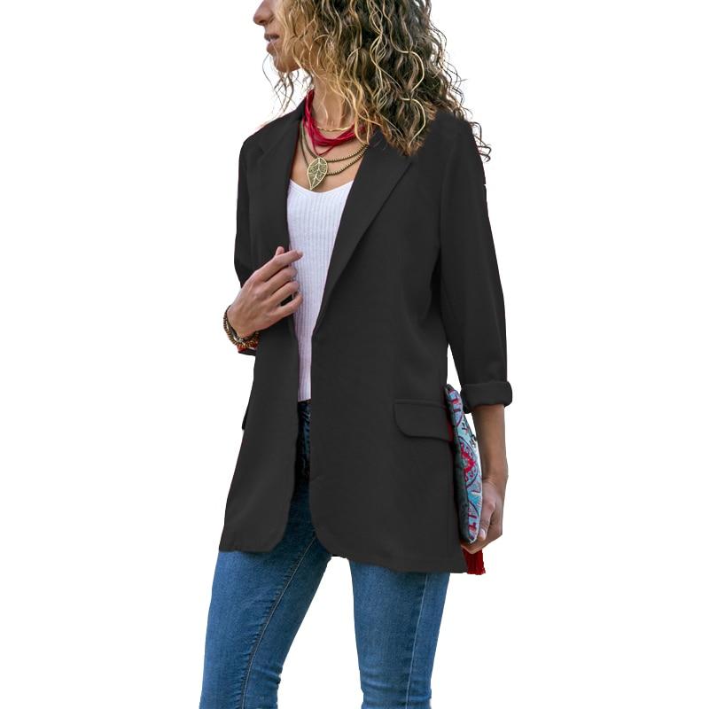 Women Spring Fall Blazer Jacket Fashion None Button Work Office Lady Suit Casual Slim Business Female Blazer Coat Fashion Blazer
