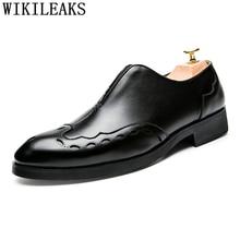 Official Shoes Dress Wedding Men Formal Men Elegant Patent Leather Italian Brand Bona