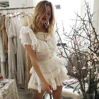 Summer Sweet Cute Dress Sexy Mesh Perspective Lace Patchwork Women Dress Embroidery Cascading Ruffle Dress White