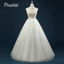 Real Lace Top Tulle Wedding Gown New High Neck A-Line Beaded Lace Bridal Gown Robe de Mariage Wedding Party Dresses ASAFN35