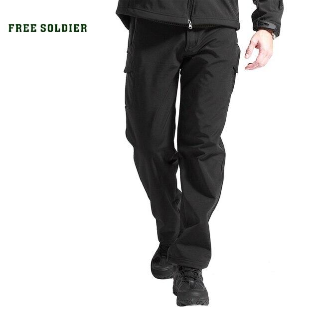 FREE SOLDIER ветровочные штаны с мягкой шерстью из акульей кожи на осень и зиму для изыскания и бивака, мужские тактические ветрозащитные водостойкие альпинистские штаны