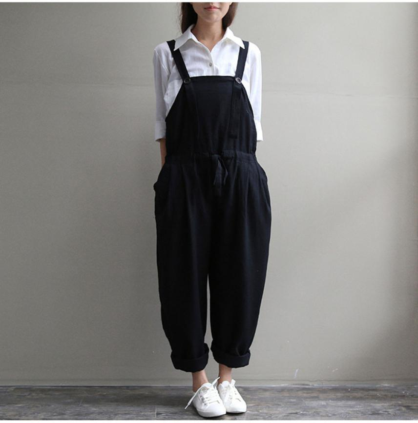 Women Oversized Dungaree Jumpsuits Bib Casual Loose Long Pants Trousers plus size jumpsuits 2020 act30