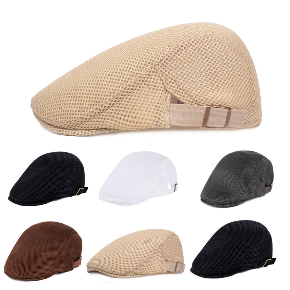 Mens Breathable Mesh Summer Duckbill Hat Newsboy Beret Ivy Cap Cabbie Flat Soft Driving Outdoor Adjustable