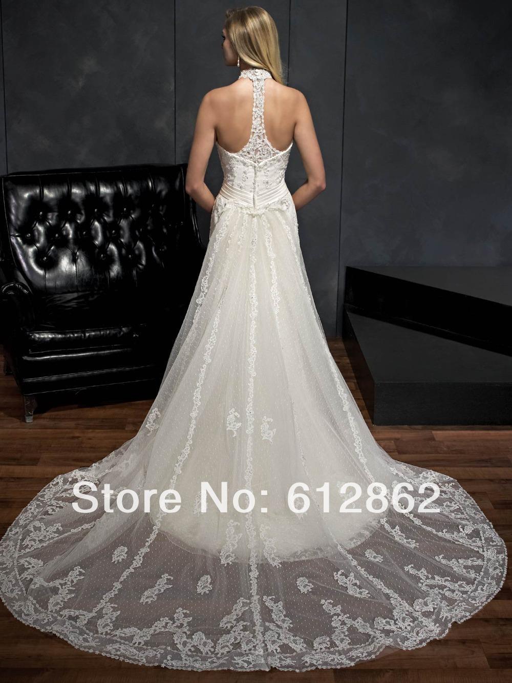 Sleeveless Vestido De Casamento Lace Long Train Low Back Halter Top Wedding  Dress-in Wedding Dresses from Weddings   Events on Aliexpress.com  74ca62f5d52b