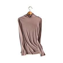 2019 Autumn Winter Women Nature Silk Double-sided Knitted Real Neckwear Thin High Collar Thermal Underwear Tops T-shirt