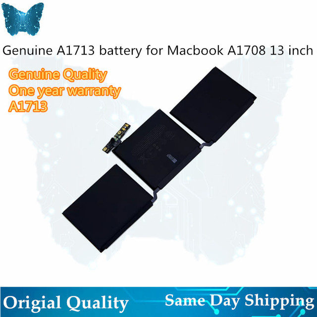 "GIAUSA Laptop A1713 Battery For Apple Macbook Pro 13"" Inch A1708 MLL42CH/A MLUQ2CH/A 4781mAh 54.5Wh 11.4V"