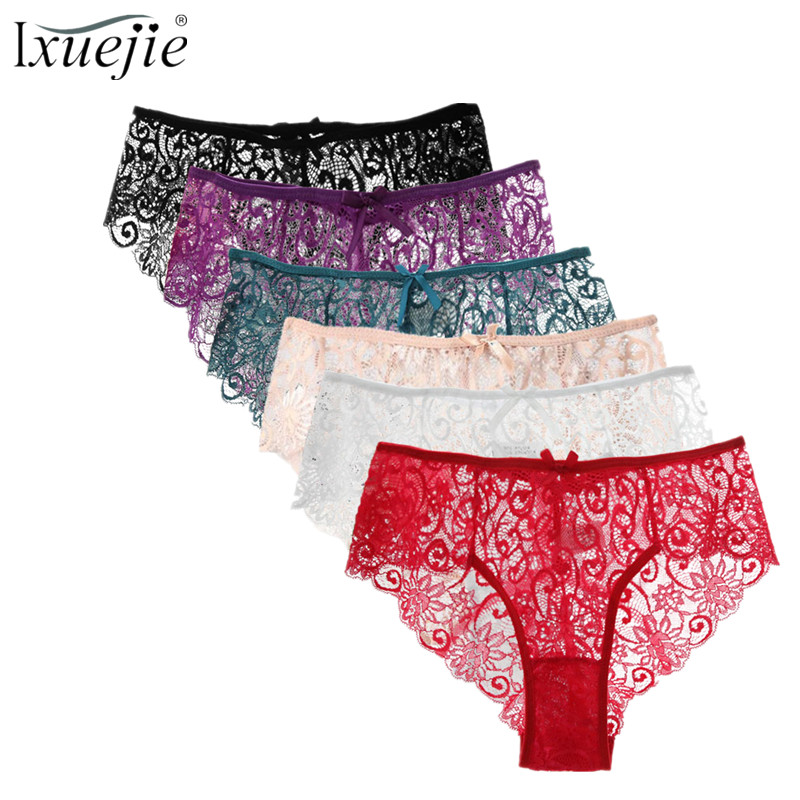 Ixuejie 6Pcs/lot Plus Size S/X High Quality Women's   Panties   Sexy Transparent Underwear Women Lace Soft Briefs Sexy Lingerie