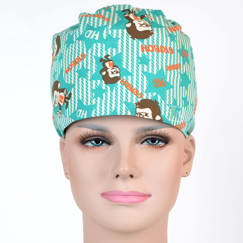 New Lab Hospital Medical Surgical Cap 100% Cotton Printed Medical Scrub Operation Caps Adjustable One Size LXX27