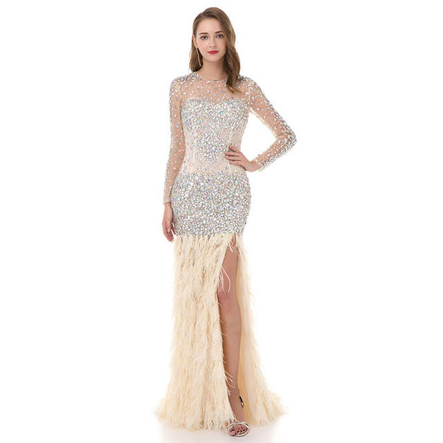 Online Shop Pretty Women Ivory Mermaid Long Sleeve Prom Dresses 2018 LORIE  Rhinestone Feathered Robe De Soiree Elegant Long Evening Dresses  f05aa60bd26b