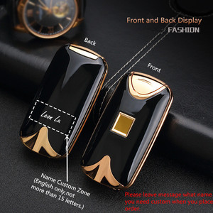 Image 3 - USB Lighter Rechargeable Electronic Lighter Cigarette Fingerprint Plasma Lighter Dual Arc Cigar Palse Personal Signature Custom